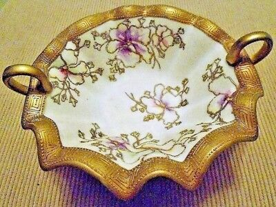 Vintage Hand Painted Nippon Bowl Gold Moriage Beading & Gold Trim Signed