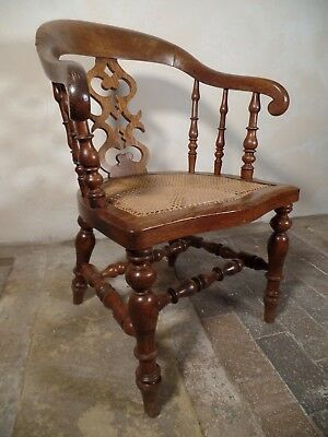 Victorian Antique Oak Scroll Captains Elbow Smoker Bow Chair Cane Bergere Seat