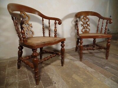 A Pair of Antique Oak Scroll Captains Elbow Smoker Bow Chair Cane Bergere Seat