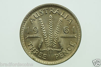 1961 Threepence Elizabeth II in Uncirculated Condition