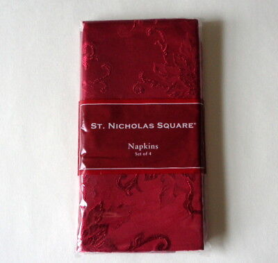 New ST NICHOLAS SQUARE Set of 4 Cloth Napkins RED Poinsettia Scroll Christmas