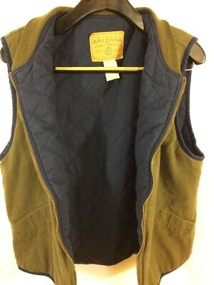 VTG Denim Vest Men's Small Olive Green QUILTED lined insulated Trucker Hunting