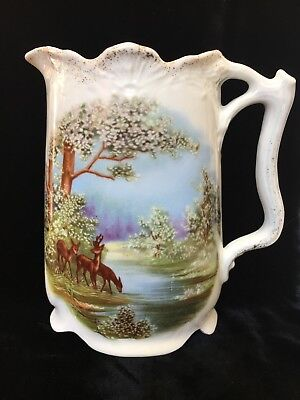 Antique Vintage English porcelain jug With Country Scene And Deer