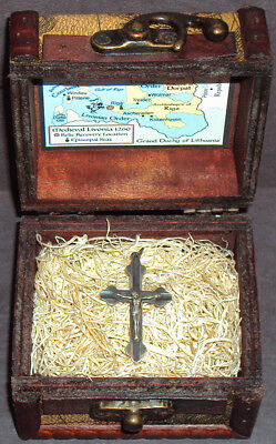 Vintage European Sterling Silver Holy Cross Pendant Relic with Display Chest!