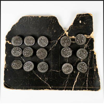 Antique Victorian Era French Cut Steel Buttons, Set of 15 on Original Card