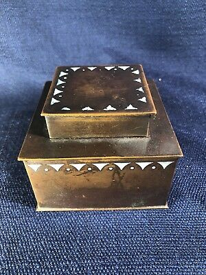 Vintage Arts & Crafts Copper Antique Inkwell Office Accessory