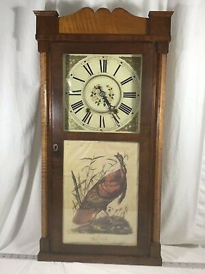 Antique American Wooden Works Wall Clock Ca. 1830s To Restore David Dutton Wood