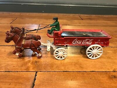 Vintage Antique - Cast Iron Horse Drawn Wagon - Coca-Cola