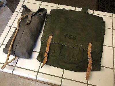 Vintage U.S. Forest Service Bag Leather Straps Fire Fighter Green Back Pack Rope