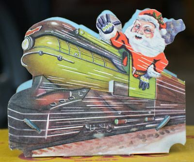 1930's Santa Claus Art Deco Train, Cardboard Christmas Candy Container