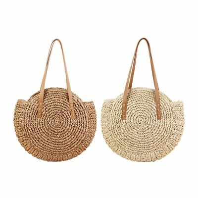 Casual Round Shape Lovely Straw Vintage Bag Rattan Woven Handbag Beach Bags L5