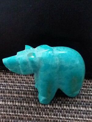 Bright Blue Bear Fetish Carving Turquoise 2 Inches Long
