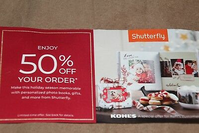 Shutterfly .com Coupon  50% Off Your Order  Exp 12-31-2018