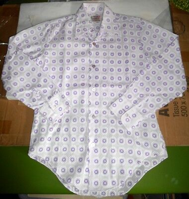 Vintage 60s 70s Groovy Purple Pattern Childrens Poly/Cotton Party Shirt 12 1/2