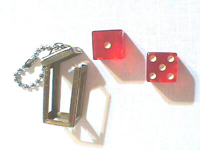 VINTAGE MINIATURE DICE KEY CHAIN  with METAL HOLDER