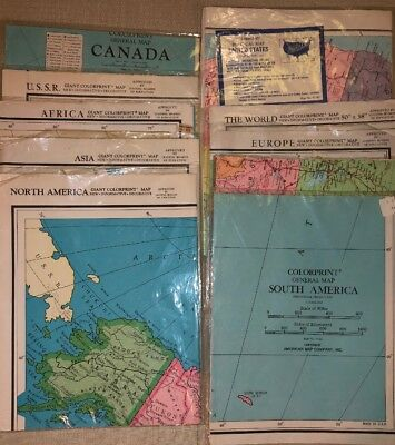 Lot Of 10 Giant Colorprint Vintage Folded Classroom Wall Maps