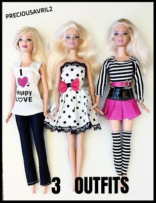 Brand new barbie doll clothes clothing sets 3 outfits party casual summer