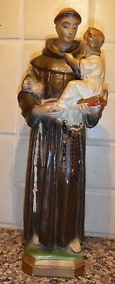 "Vintage Plaster/Chalkware St. Anthony Holding Baby/Child Jesus 13"" Statue Priest"