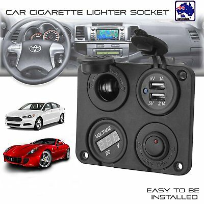 12V-24V Car Cigarette Lighter Socket + Dual USB Ports Charger + Voltmeter AUBG