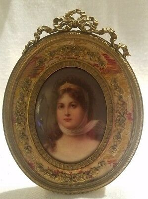 ANTIQUE Hand Painted Porcelain Miniature Portrait Queen Louise Victorian + Frame