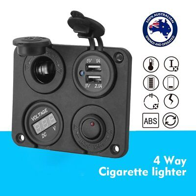 DC 12V-24V Car Cigarette Lighter Plug Socket+Dual USB Charger+Voltmeter+Switch B