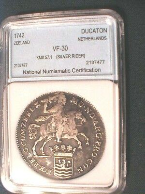 NNC Slabbed: 1742 Netherlands Zeeland Ducaton Silver Rider / Unknown Shipwreck