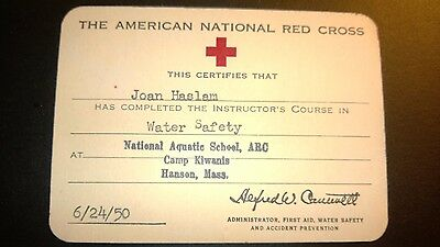"""Vintage """"THE AMERICAN NATIONAL RED CROSS""""-""""Water Safety"""" Certificate 1950"""