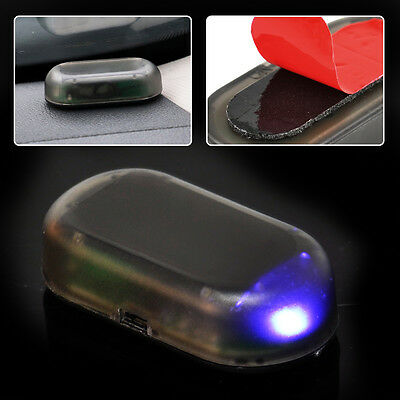 Solar Power Dummy Car Alarm Warning Stimulated AntiTheft Flashing LED Light Blue
