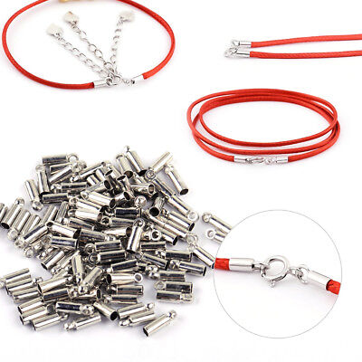 100x Silver Plated Barrel Bead Leather Cord ends caps Jewelry making findings