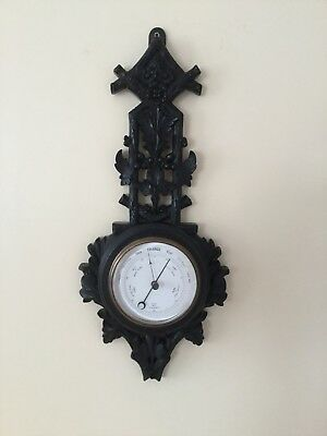 VICTORIAN HAND CARVED ANEROID BAROMETER c1900