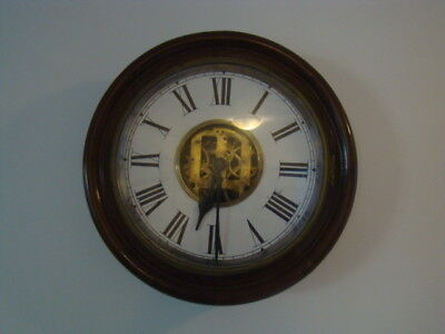 """1950's 16"""" OLD CHIMING PENDULUM WOODEN WALL CLOCK ANTIQUE VINTAGE WIND-UP"""