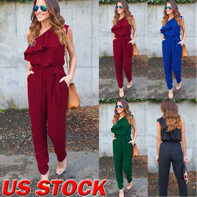 Women Lady Sleeveless Clubwear Playsuit Bodycon Party Jumpsuit Romper Trousers