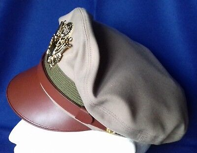 Repro WW2 Crusher Cap Visor Hat US Army USAAF AAF Officer's Khaki TW Size 58cm