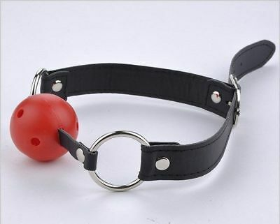 Ball gag rouge, sangle noire/ SM / Soumission / Bondage