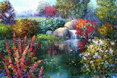 "Handpainted Landscape Oil Painting On Canvas Colorful Art For Home 24""X32"" FA126"