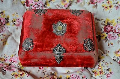 Antique French Nap III red velvet boudoir/jewellery box, silver decoration