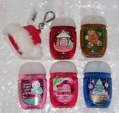 Bath & Body Works Pack Of 5 Christmas Collection Pocketbacs + Holder L@@k!