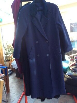 Vintage C & A Ladies 100% Pure New Wool Blue Double Breasted Long Coat Size16/18