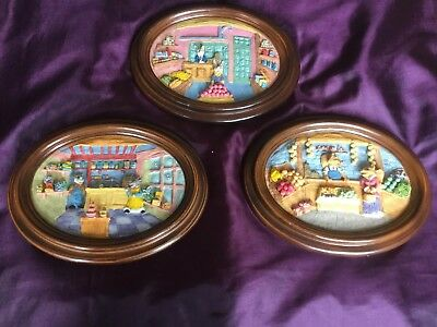 Vintage Three Oval Wooden Framed 3D Animal Pictures