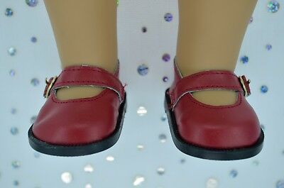 """Dolls Shoes For 17""""Baby Born~18""""American Girl  DEEP RED MARY JANE SHOES"""