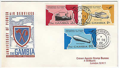 Y6069 The Gambia first day cover anniv. pioneer air services 1969