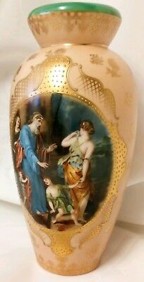 Sevres Style Signed Hand Painted Scene Unmarked Base Vase