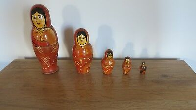Vintage Set Of 5 Wooden Russian Nesting Dolls Toy