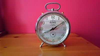 Stunning WEHRLE THREE-IN-ONE Jewelled Rust & Dust Protected Alarm Clock WORKING