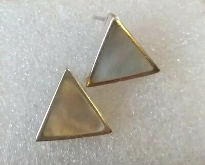 sterling silver 925 and mother of pearl chunky  earrings full Italian hallmarks