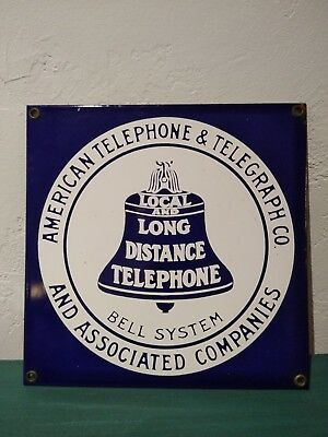 American Telephone & Telegraph Co Local and Long Distance Porcelain Steel Sign