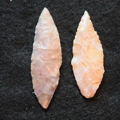 2 nice Sahara Neolithic ovate points/blades, color!