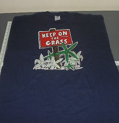 "Vintage Iron-On New T-Shirt Xl X-Large ""keep On The Grass"" Weed Marijuana 420"