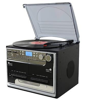 Steepletone BTSMC386 Record Player Music System Bluetooth. Digitize Tapes & LPs