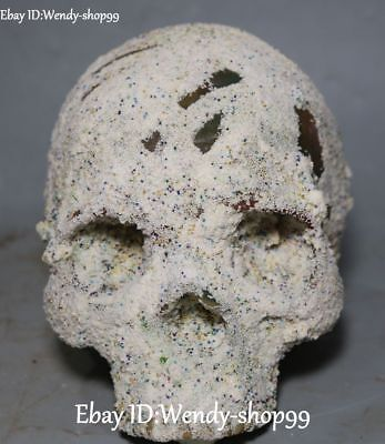 Unique Chinese Relic Folk Collect Ghost Skull Head Death's-skull Skeleton Statue